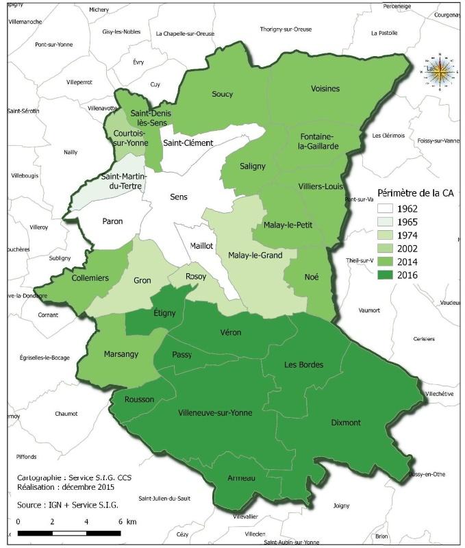 Evolution du périmètre de la Communauté d'Agglomération du Grand Sénonais